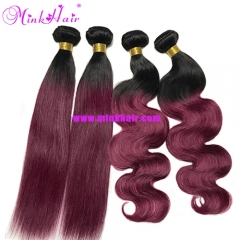 Colorful Hair Ombre 1B/99J Burgundy Color 100% Virgin Remy Brazilian Hair Bundles
