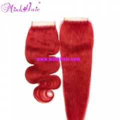 Red Mink Hair 10A Grade Wholesale Body Wave Silky Straight Red Color Lace Closure