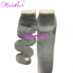 Top Quality Mink Hair Queen Hair Grey Lace Closure