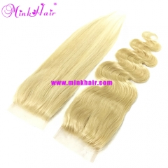 Mink Hair 10A Grade Luxury Platinum Blonde Lace Closure