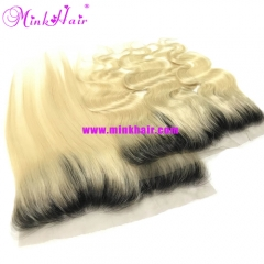Mink Hair 10A Hot Sale Black Root Ombre Blonde Hair Lace Frontal