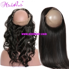 360 Lace Frontal 100% Human Virgin Hair Body Wave Silky Straight Natural Color Hair