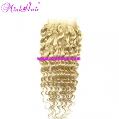 Mink Human Hair Platinum Blonde Deep Wave Lace Closure
