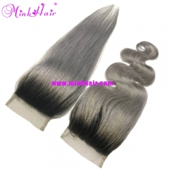1B/Grey Black Root Hair Ombre Grey Lace Closure