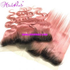 Wholesale Mink Hair Extensions Ombre Pink Frontal