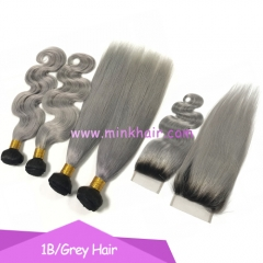 Wholesale Mink Hair Bundles #1B/Grey Brazilian Ombre Grey Hair