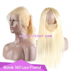 Wholesale 10A Grade Bleached Knots Body Wave And Silky Straight Blonde 360 Lace Frontal