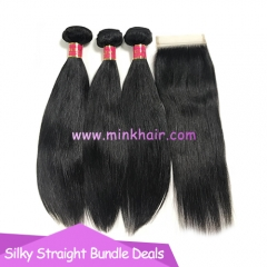 Wholesale Mink Brazilian 3 Bundles Deal Mink Straight Hair