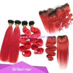 Mink Hair Vendor 10A Grade Ombre Red Hair