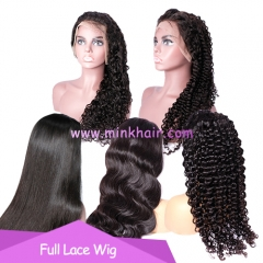 Full Lace Wig Mink Brazilian Hair Natural Color 1B