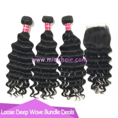 Wholesale Brazilian Hair Bundle Deals Loose Deep Wave Virgin Hair