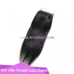 Brown Lace Mink Hair Silky Straight Brazilian Hair Mink Lace Closure
