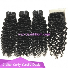 Mink Hair Weave 10A Grade High Quality Brazilian Italian Curly