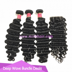 Mink Hair 100% Human Hair Deep Wave Bundles with Closure