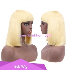 10A Grade Blonde Bob Wig With Hair Bangs