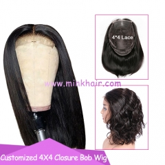10A 4X4 Closure Bob Wig 180% Density Brown Lace Customized Wig