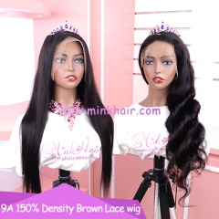 New 9A Grade Brown Lace Wig #1 Color
