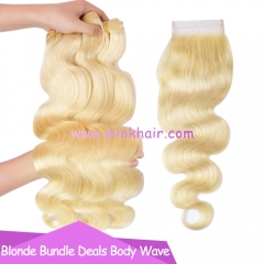 10A Grade Mink Brazilian Free Shipping Bundle Deals Blonde Body Wave