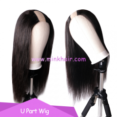 U-Part Wig 180% Density 10A 100% Mink Brazilian Hair