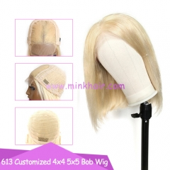 10A 613 Closure Bob Wig 4x4 5x5 180% Density Transparent Lace Customized Blonde Wig