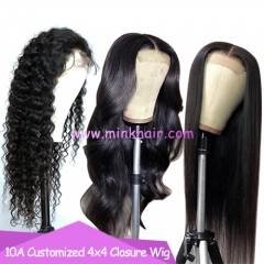 4x4 Closure Wig 10A Grade Customized Lace Wig