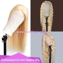 10A 613 Closure Wig 4x4 180% Density Transparent Lace Blonde Wig