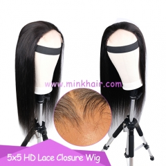 NEW 4X4 5X5 HD Lace Closure Wig 200% Density Customized 10A Wig