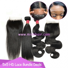 HD Lace Closure Bundle Deals 10A Grade Mink Brazilian Hair