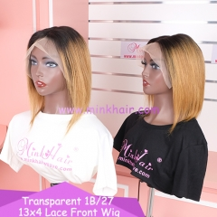 New 1B/27 transparent 13x4 Lace Front Wig 150% density