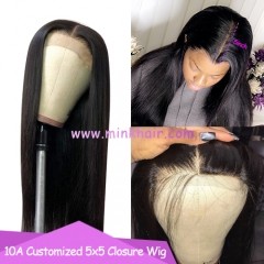 10A 5x5 Closure Wig 180% Density Customized Brown Lace Wig