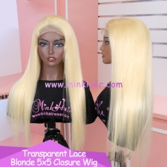 Transparent Lace 5x5 Closure Wig 180% Density Blonde Color 613 10A Grade Brazilian Wig