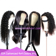 10A 4x4 Closure Wig 180% Density Customized Brown Lace Closure Wig