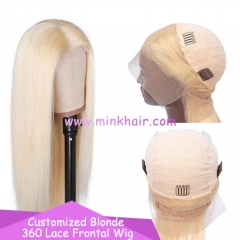 10A Customized 360 Lace Frontal Wig 180% Density Blonde Wig
