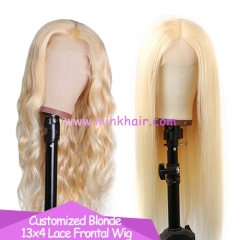 10A 613 Frontal Wig 13x4 180% Density Transparent Lace Blonde Wig
