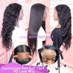 4X4 5X5 HD Lace Closure Wig 13X4 HD Lace Frontal Wig 200% Density Customized Wig