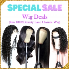 4 Wigs Deals For Sale 4x4 Lace Closure Wig 180%Density Custom Wig