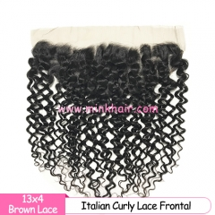 Brown Lace Wholesale Italian Curly 100% Human Hair Premium Quality Italian Mink Frontal