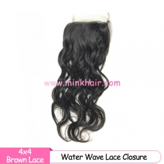 Brown Lace Mink Hair Water Wave Lace Closure 4*4 with Baby Hair