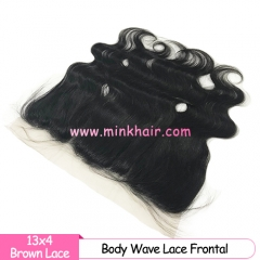 Brown Lace Mink Brazilian Body Wave Pre-Plucked With Bady Hair 13*4 Lace Frontal