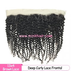 Brown Lace Diamond Virgin Hair Mink Brazilian Hair Deep Curly Wave Lace Frontal