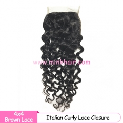 Brown Lace Mink Hair Weave Italian Wave Lace Closure With Baby Hair Miink Brazilian Hair