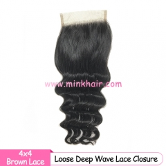Brown Lace 10A Grade Mink Brazilian Loose Deep Wave Lace Closure