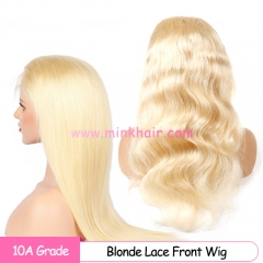 10A Blonde Lace Frontal Wig 13X6 Transparent Lace 150% Density Pre-Plucked With Baby Hair
