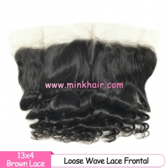 Brown Lace 100% Virgin Miink Hair 13*4 Natural Color Loose Wave Lace Frontal