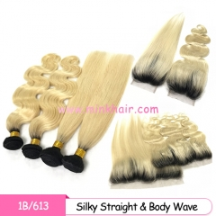 Mink Hair Weave Amour Black Root Two Tone Ombre Blonde Hair