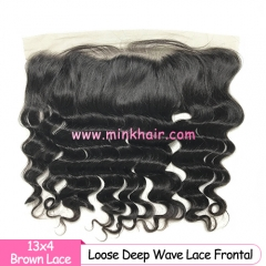 Brown Lace 10A Grade 13*4 Loose Deep Wave Lace Frontal
