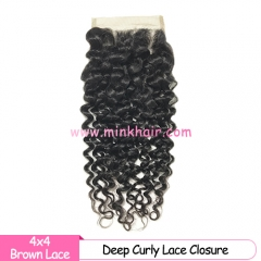 Brown Lace Mink Hair Factory Closures 100% Brazilian Mink Deep Curly Hair