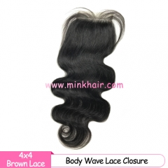 Brown Lace Mink Hair Company Body Wave Closure 10A Grade Mink Brazilian