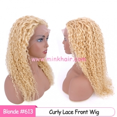 Mink Brazilian 613 Blonde Curly Lace Front Wig