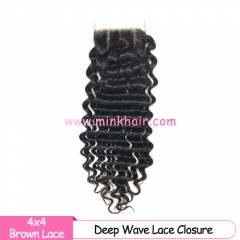Brown Lace Brazilian Mink Hair Deep Wave Lace Closure Diamond Virgin Hair